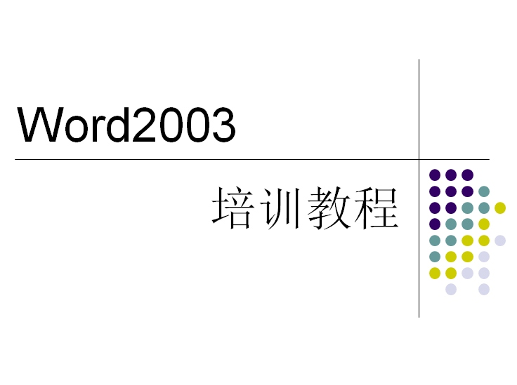 word2003培训教程ppt下载